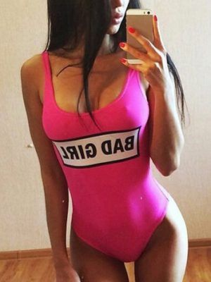 swimsuit woman bad girl pink fluor fashion summer 2019