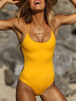 swimsuit women fashion summer 2019 colorful bright yellow