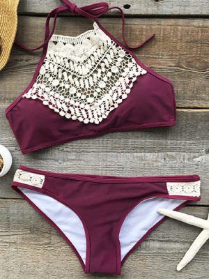 bikini, swimsuit, fashion, summer, 2019, lace, burgundy