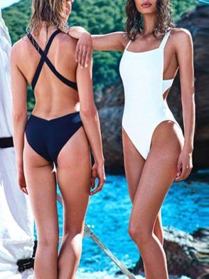 swimsuit women fashion summer 2019 black and white cross braces